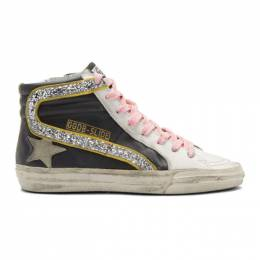 Golden Goose Black and White Glitter Flash Slide High-Top Sneakers 192264F12703304GB