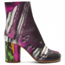 Maison Margiela Green and Pink Graphic Tabi Boots 192168F11303607GB