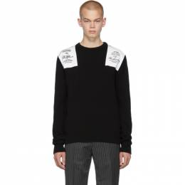 Raf Simons Black Embroidered Shoulder Patch Sweater 192287M20101503GB
