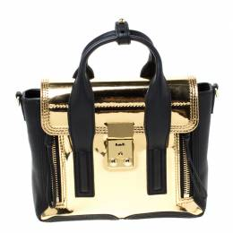 3.1 Phillip Lim Metallic Gold/Black Leather Mini Pashli Top Handle Bag 217268