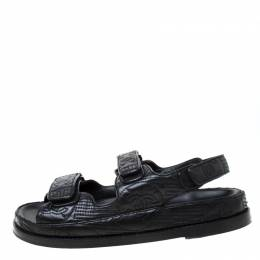 Chanel Black Embroidered Leather CC Velcro Flat Sandals Size 37.5 218622