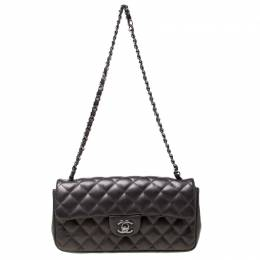 Chanel Grey Quilted Lambskin East West Classic Flap Bag 216915