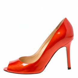 Sergio Rossi Orange Patent Leather Peep Toe Pumps Size 35.5 218614