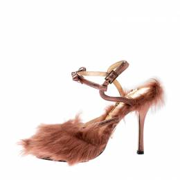 Charlotte Olympia Metallic Bronze Leather and Fur Caress Me Peep Toe Sandals Size 38 219679