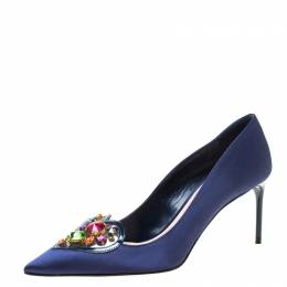 Miu Miu Navy Blue Satin Crystal Embellished Heart Pointed Toe Pumps Size 36.5 218603