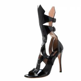 Alaia Black Patent Leather Open Toe Gladiator Sandals Size 38.5 216569