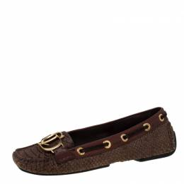 Dior Brown Python Leather CD Loafers Size 37 218668