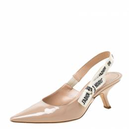 Dior Beige Patent Leather J'adior Ribbon Pointed Toe Slingback Sandals Size 39 218660