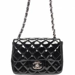 Chanel Black Quilted Patent Leather Jumbo Classic Double Flap Bag 218840