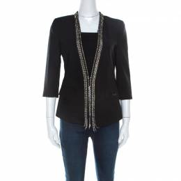Philipp Plein Couture Black Wool Crystal Embellished Tailored Jacket S 218691