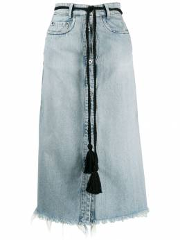 Miu Miu - tassel belt denim midi skirt 9359VPX9550069600000