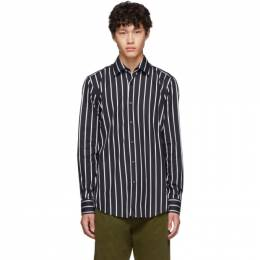 Boss Black and White Stripe Jango Slim-Fit Shirt 192085M19202505GB