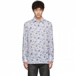 Neil Barrett Blue and White Striped Floral All-Over Shirt 192368M19200706GB
