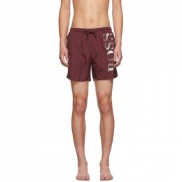 Boss Burgundy Octopus Swim Shorts 192085M20801101GB