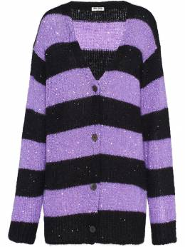 Miu Miu - sequin-embellished striped cardigan 9569UGQ9538006500000
