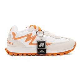 Marc Jacobs White and Orange The Jogger Sneakers 192190F12800203GB