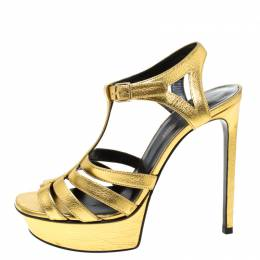 Saint Laurent Paris Metallic Gold Leather Strappy Platform Sandals Size 38 218378