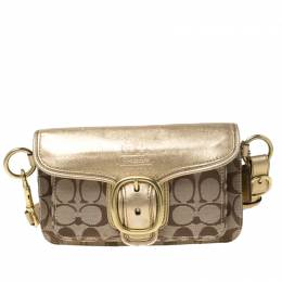 Coach Beige/Gold Signature Canvas and Leather Soho Shoulder Bag 218159
