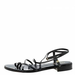 Fendi Black Patent Leather Strapped Flat Sandals Size 38 218414