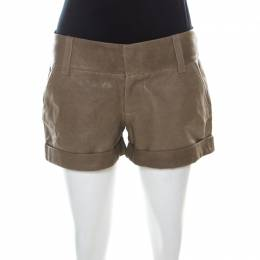 Alice + Olivia Taupe Green Leather Cuffed Shorts S 218521