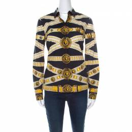 Versus Versace Black and Yellow Logo Printed Cotton Button Front Shirt S 218524
