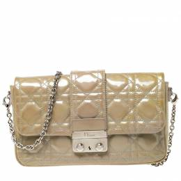 Dior Beige Cannage Patent Leather Miss Dior Promenade Pouch Bag 218636