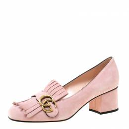 Gucci Crystal Pink Suede GG Marmont Block Heel Pumps Size 39 218637