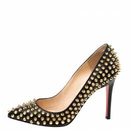Christian Louboutin Black Leather Spikes Embellished Pointed Toe Pumps Size 36.5 219685