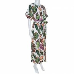Oscar De La Renta White Jungle Print Silk Stretch Maxi Dress S 218890