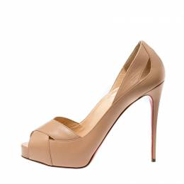 Christian Louboutin Beige Leather Academa Peep Toe Pumps Size 40 219856