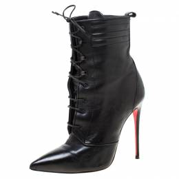 Christian Louboutin Black Leather Mado Pointed Toe Lace Up Ankle Boots Size 35 219219