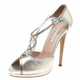 Oscar De La Renta Metallic Gold/Silver Leather Peep Toe Platform Sandals Size 40 219660