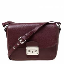 Miu Miu Burgundy Leather Madras Crossbody Bag 217733