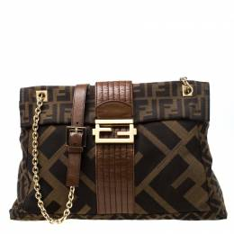 Fendi Tobacco Zucca Canvas Maxi Baguette Flap Shoulder Bag 216987