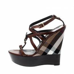 Burberry Brown Strappy Leather Platform Housecheck Wedge Sandals Size 39 219860
