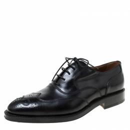 Bally Black Leather Wingtip Lace Up Oxfords Size 41 219269