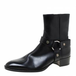 Saint Laurent Black Leather Harness Ankle Boots Size 41 219474