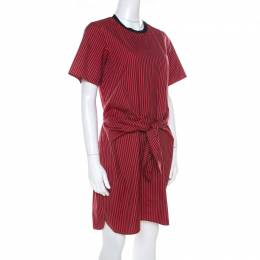 3.1 Phillip Lim Red & Black Striped Cut Out Back Detail Dress S 218602