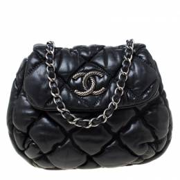 Chanel Black Quilted Leather Bubble Small Shoulder Bag 216937