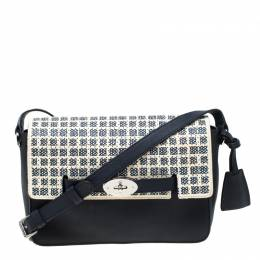 Mulberry Navy Blue/White Perforated Checkerboard Leather Bayswater Shoulder Bag 217717