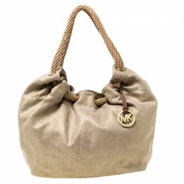 MICHAEL Michael Kors Beige Metallic Canvas Ring Tote 217718