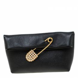 Burberry Black Leather Crystal Embellished Pin Clutch 218048
