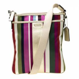 Coach Multicolor Striped Nylon and Leather Legacy Swingpack Crossbody Bag 216969