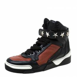 Givenchy Black/Brown Leather Tyson Star Studded High Top Sneakers Size 43 219242