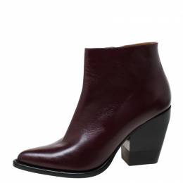 Chloe Burgundy Leather Rylee Pointed Toe Ankle Boots Size 42 219650