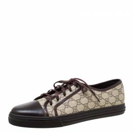 Gucci Beige/Brown Supreme Canvas And Leather Cap Toe Low Top Sneakers Size 46 219004