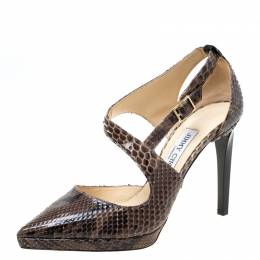 Jimmy Choo Brown Python Leather Cross Strap Pointed Toe Sandals Size 37.5 219657
