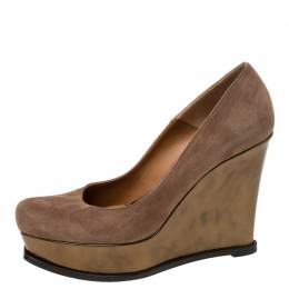 Fendi Brown Suede Platform Wedge Pumps Size 41 219655