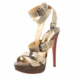 Christian Louboutin Beige Python Leather Criss Cross Strap Platform Sandals Size 38 219702