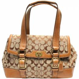 Coach Brown Signature Canvas And Leather Double Buckle Shoulder Bag 219388